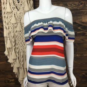 Laundry Shelli Segal Striped Smocked Off Shoulder